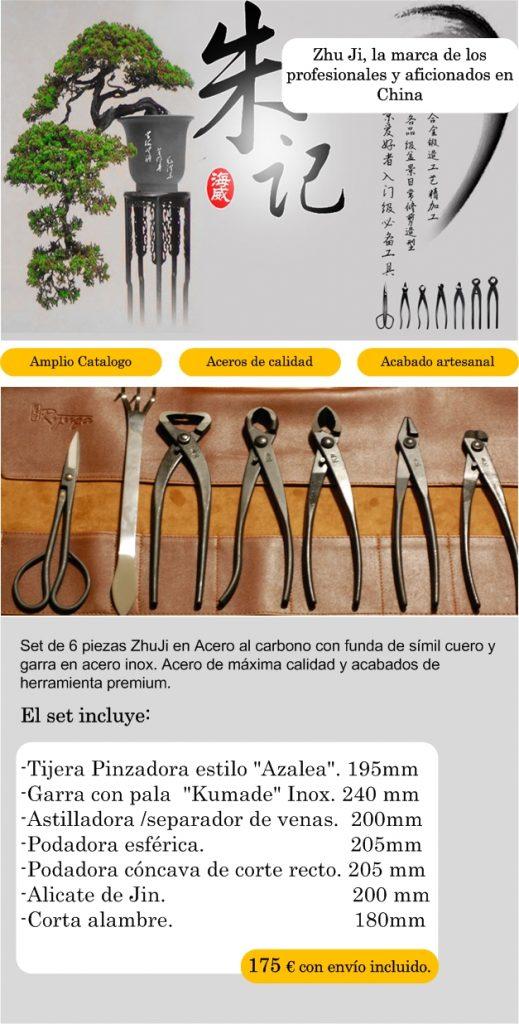 Set herramientas para bonsai zhu ji