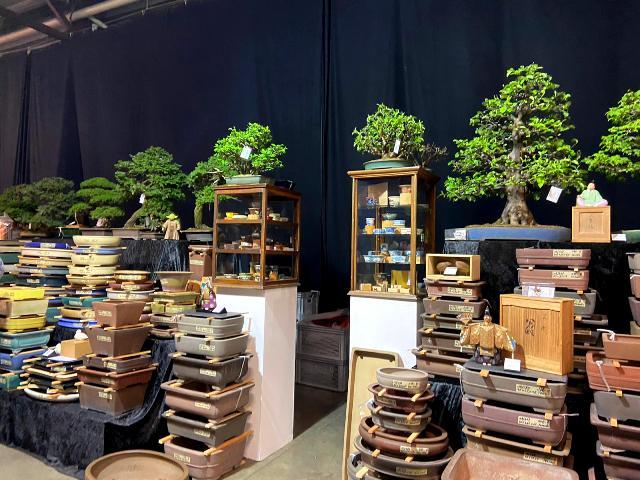 árboles bonsai y macetas en trophy 2020 en genk. Bégica. Zona de ventas
