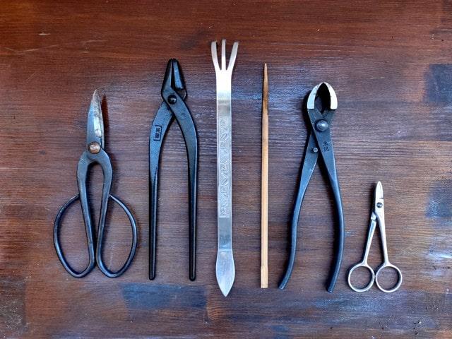 herramientas para bonsai utilizadas durante el trasplante