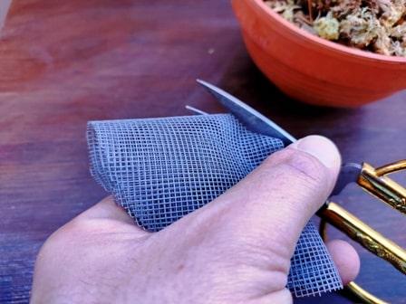 recorte de la malla o rejila para sujetar el musgo a la maceta